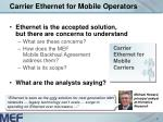 carrier ethernet for mobile operators