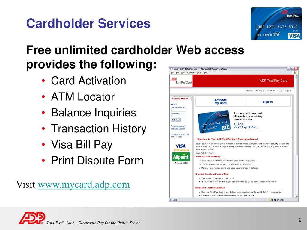 PPT - ADP TotalPay ® Card PowerPoint Presentation - ID:487810