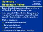 summary regulatory points