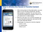 step 5 articles are saved in favorite content list