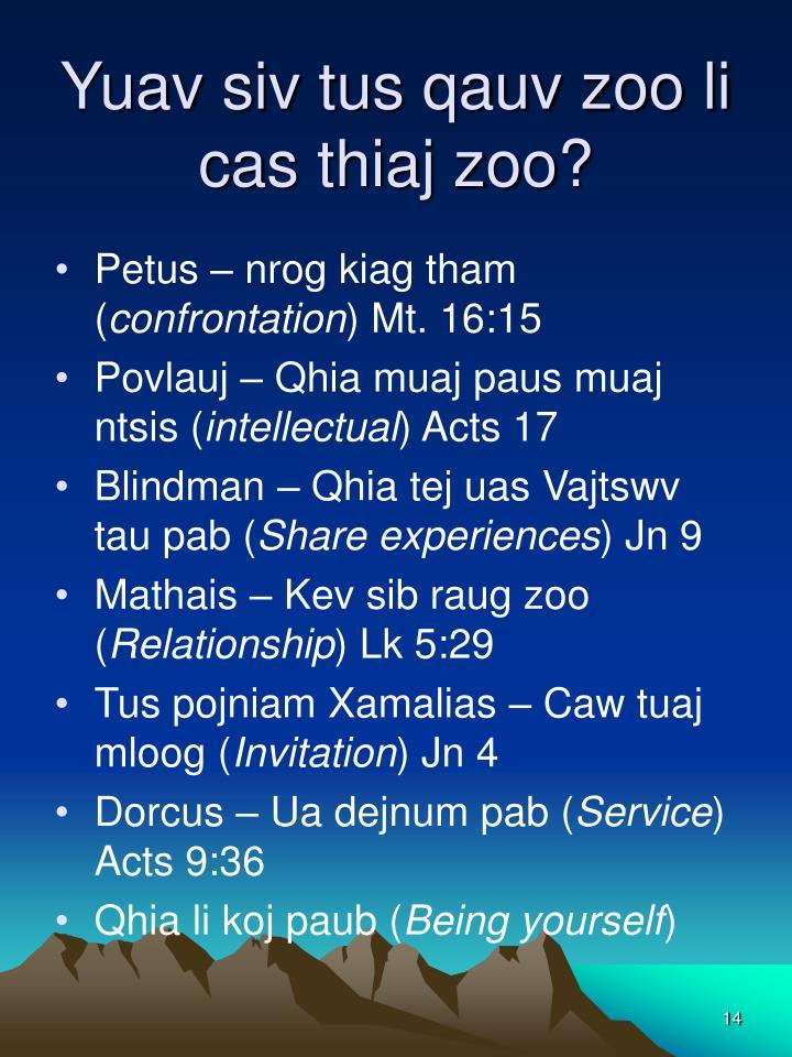 Yuav siv tus qauv zoo li cas thiaj zoo?