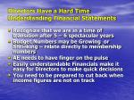 directors have a hard time understanding financial statements