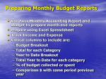 preparing monthly budget reports