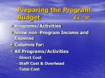 preparing the program budget ex d
