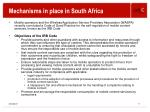 mechanisms in place in south africa