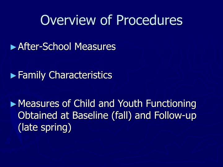 Overview of Procedures