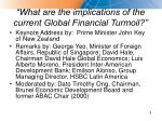 what are the implications of the current global financial turmoil