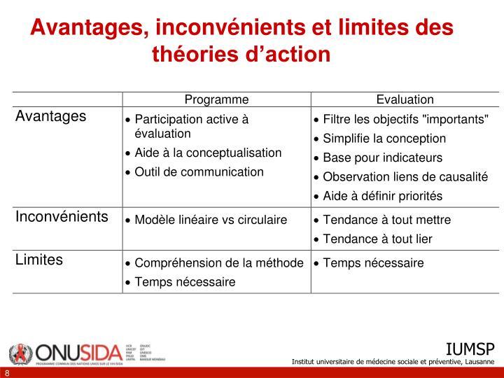 Avantages, inconvénients et limites des théories d'action