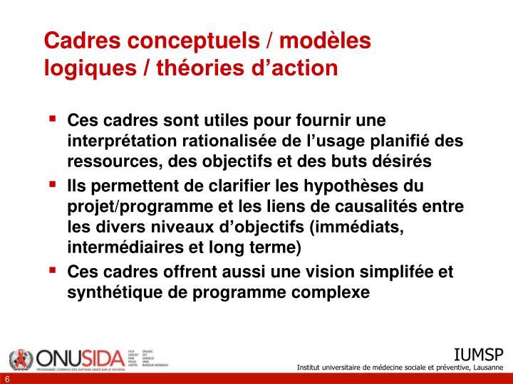 Cadres conceptuels / modèles logiques / théories d'action