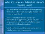 what are homeless education liaisons required to do