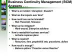 business continuity management bcm answers