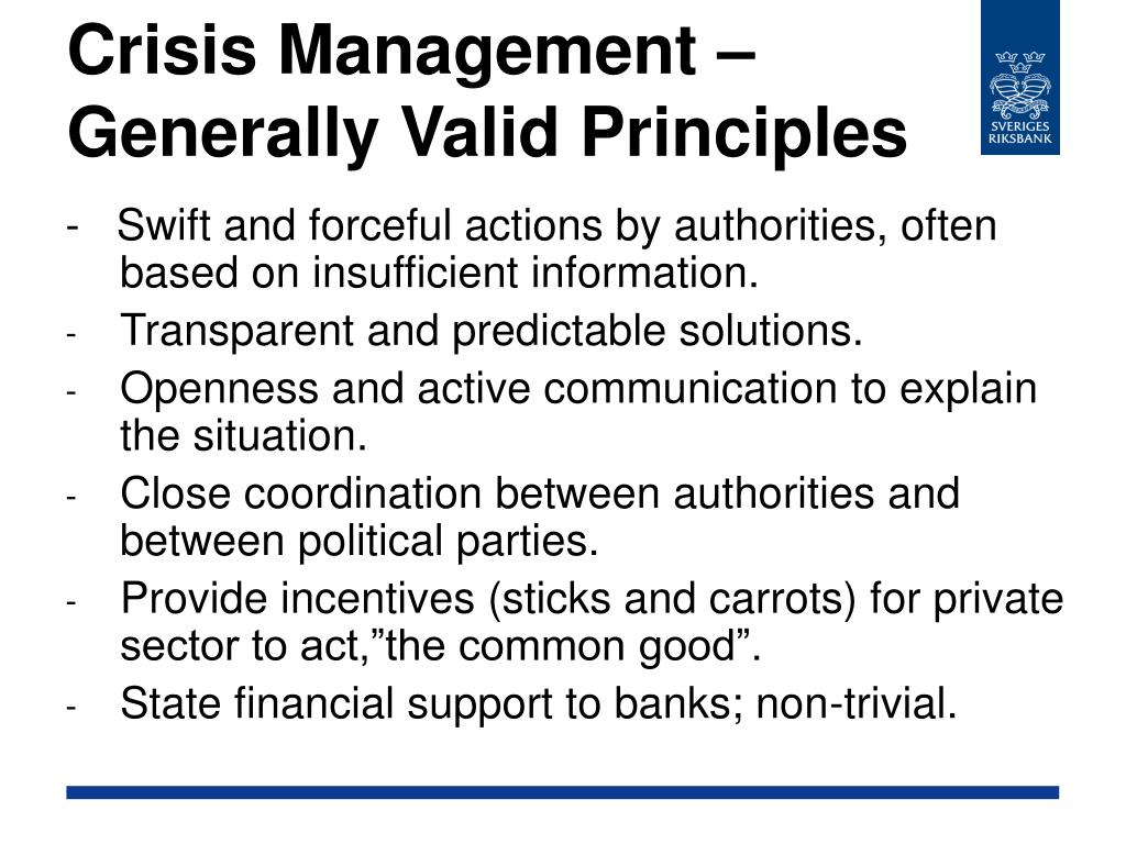 Crisis Management – Generally Valid Principles