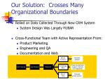 our solution crosses many organizational boundaries