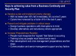 keys to achieving value from a business continuity and security plan
