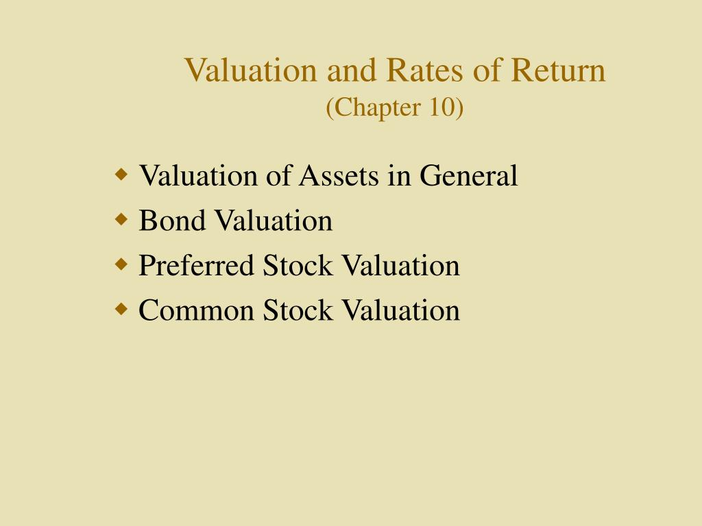 valuation and rates of return chapter 10 l.