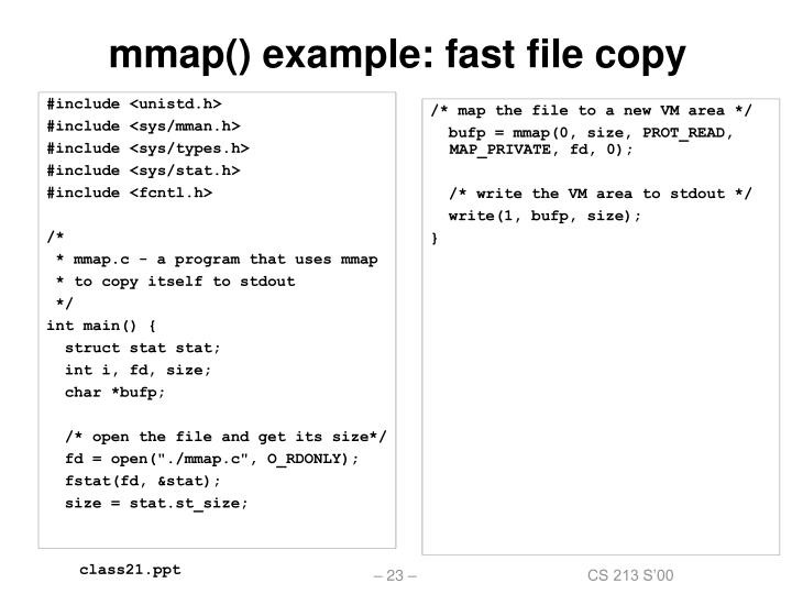 mmap() example: fast file copy