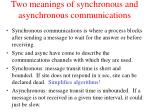 two meanings of synchronous and asynchronous communications