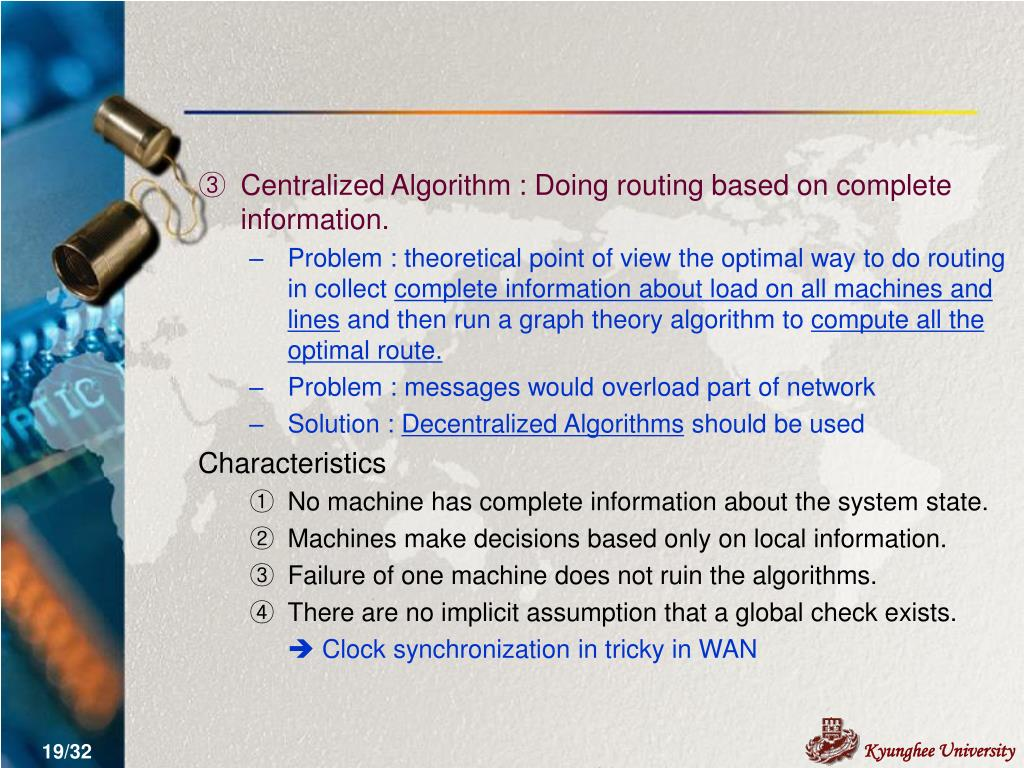 Centralized Algorithm : Doing routing based on complete information.
