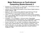 major references on fault tolerant computing books general 2