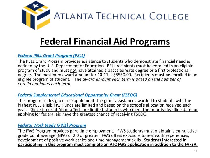 Federal Financial Aid Programs