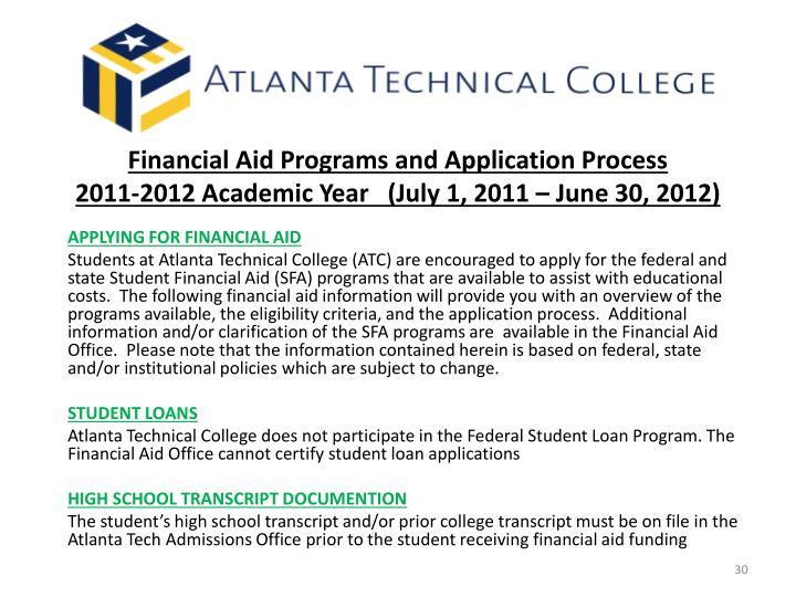 Financial Aid Programs and Application Process
