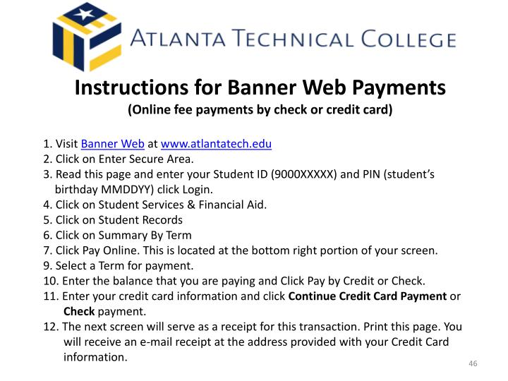 Instructions for Banner Web Payments
