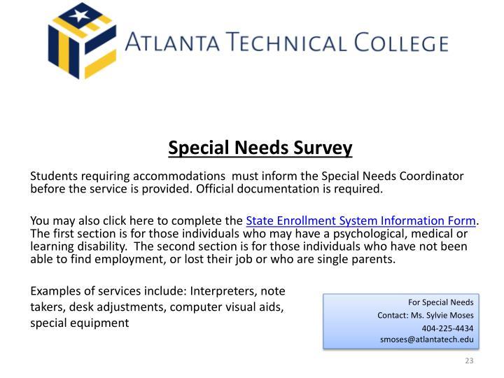 Special Needs Survey