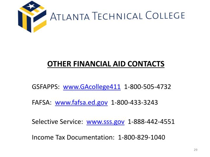 OTHER FINANCIAL AID CONTACTS