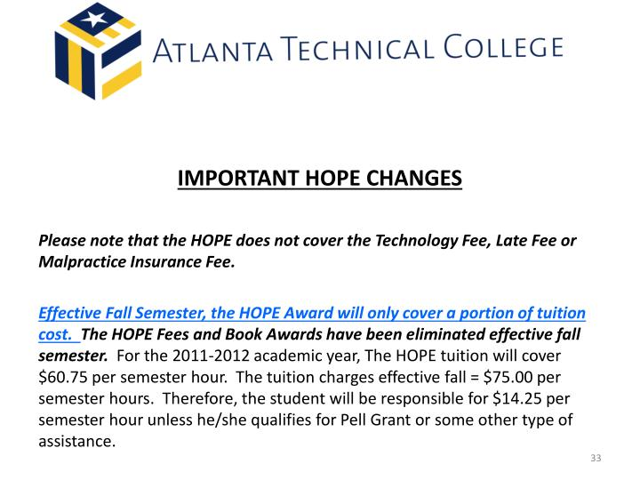 IMPORTANT HOPE CHANGES