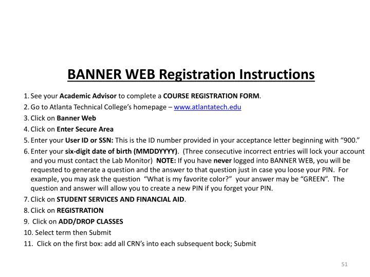 BANNER WEB Registration Instructions