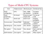 types of multi cpu systems