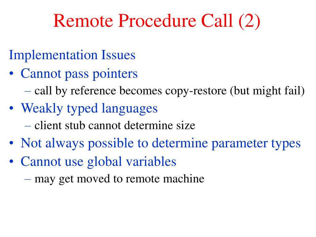Remote Procedure Call (2)