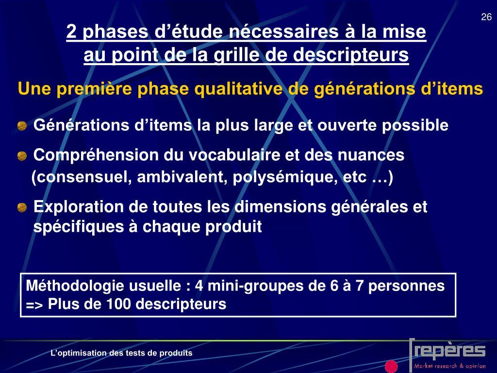 2 phases d'étude nécessaires à la mise au point de la grille de descripteurs
