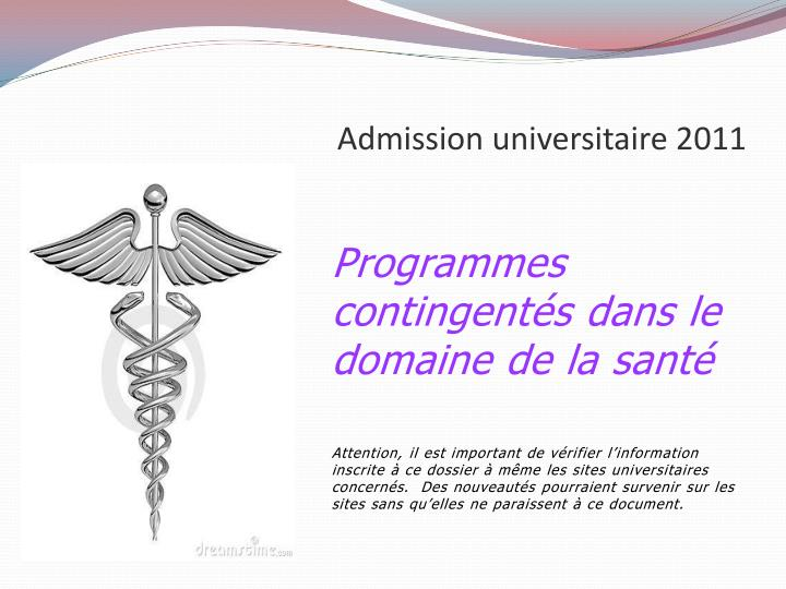 admission universitaire 2011 n.