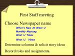 first staff meeting