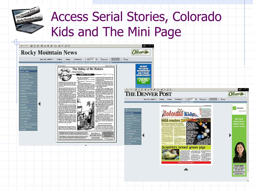 Access Serial Stories, Colorado Kids and The Mini Page