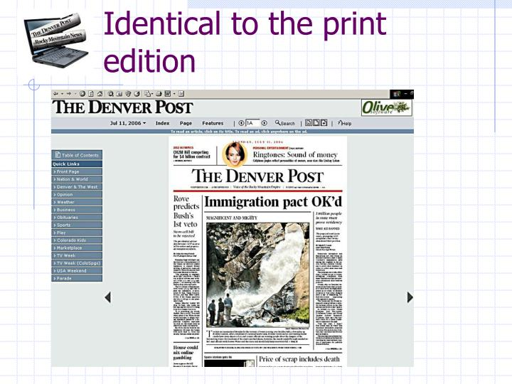 Identical to the print edition