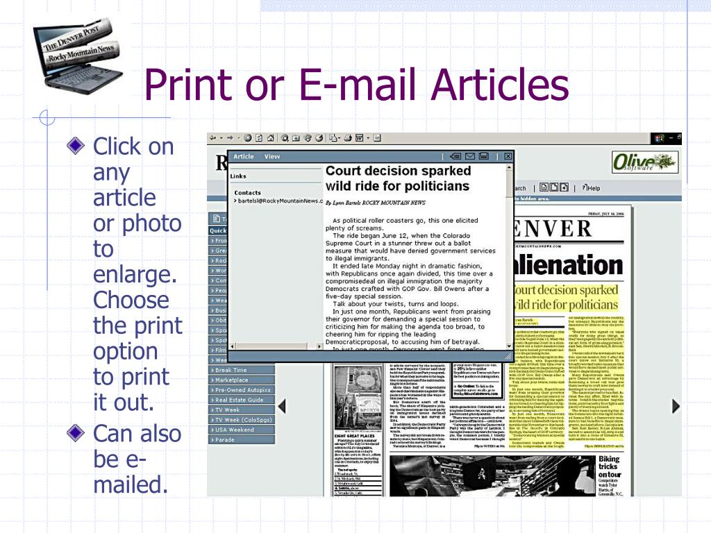 Print or E-mail Articles