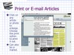 print or e mail articles