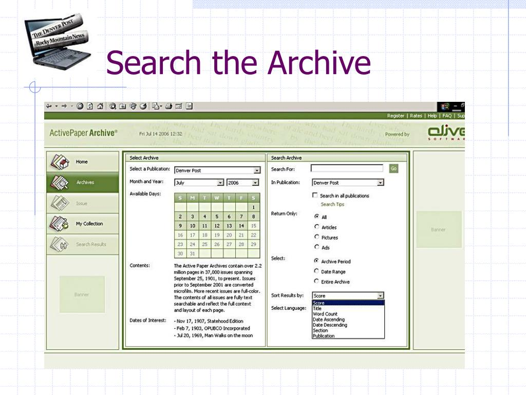 Search the Archive