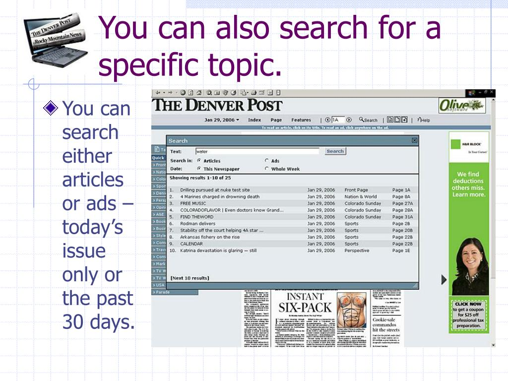 You can also search for a specific topic.