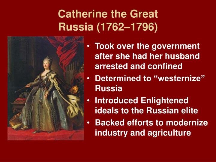 catherine the great enlightened despot or power hungry dictator Tive the foremost of europe's enlightened despots were frederick ii of prussia, holy roman emperor joseph ii of austria, and catherine the great of russia frederick the greatfrederick ii, the king of prussia from 1740 to 1786, com-mitted himself to reforming prussia he granted many religious freedoms, reduced censorship, and improved.