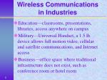 wireless communications in industries