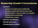 readership growth 4 cornerstones
