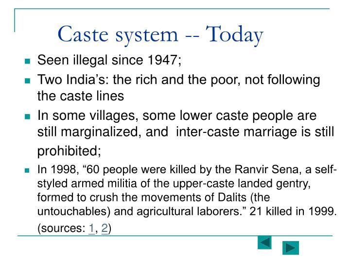 Caste system -- Today