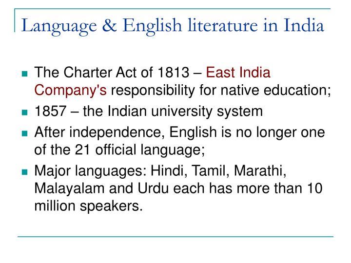 Language & English literature in India