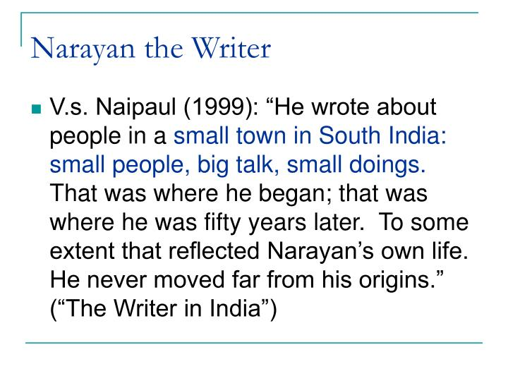 Narayan the Writer