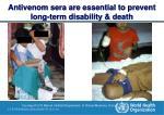 antivenom sera are essential to prevent long term disability death
