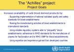who achilles project expected outcomes