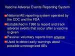 vaccine adverse events reporting system